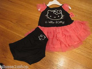 Hello Kitty Sanrio Baby Girls Tutu dress & Bloomers Blk pink 3/6 M