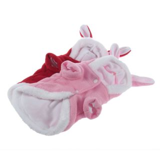 Cute Rabbit Plush Dog Apparel Pet Hoodie Costume Clothes Suit Coat S M