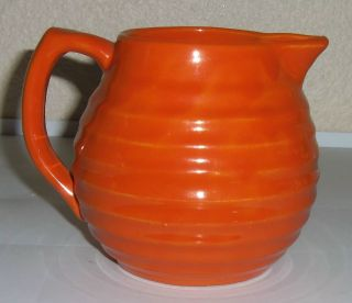 Bauer Pottery Ring Ware Orange 1.5 Pint Pitcher