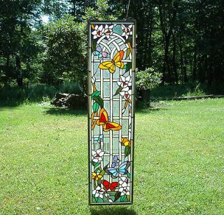36 Tiffany Style stained glass window panel flower butterfly garden