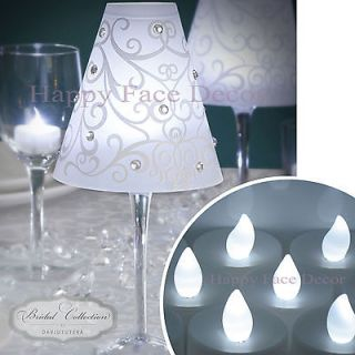 SHADES + 24 WHITE LED TEA LIGHTS Candle Table Decor WEDDING PARTY