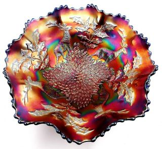 carnival glass blue footed bowl