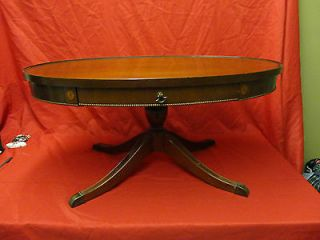 Antique Style Depression Era Duncan Phyfe Oval Coffee Table W/Pedestal