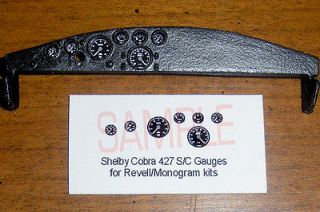 SHELBY COBRA 427 S/C GAUGE FACES   for 1/25 scale REVELL/MONOGRA​M