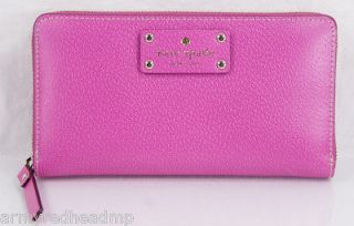 NEW KATE SPADE WELLESLEY NEDA FIESTA ROSE PINK BOARSKIN LEATHER ZIP