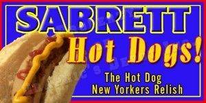 Concession Decal SABRETT HOT DOGS   12 W X 6 H