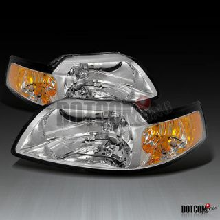 1999 2004 FORD MUSTANG COBRA CHROME CRYSTAL HEADLIGHTS (Fits Mustang)