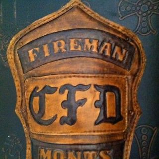 Custom Hand Tooled Leather Fire Helmet Shield