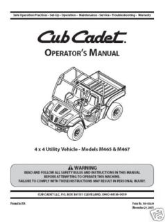 Cub Cadet 4x4 utility vehicle Operator Manual#M465 M4​67