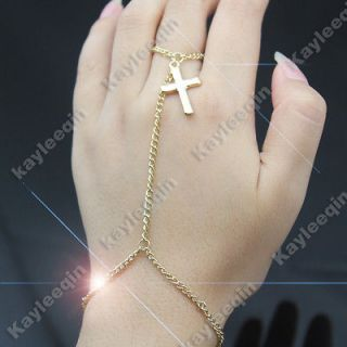Gold Crucifix Cross Bracelet Bangle Slave Chain Link Hand Harness