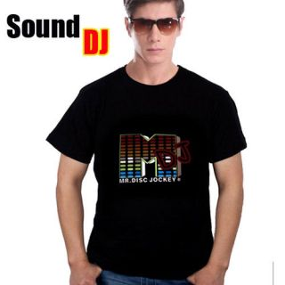 Sound Activated DJ shape LED Flash Light EL Music DANCE HIP HOP Club T