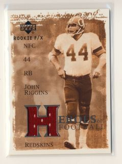 2002 Upper Deck Rookie F/X John Riggins Jersey Washington Redskins