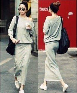 new Fall leisure Women Boat Neck Top Long Skirt Sweat Suits 2PC Gray