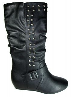 Wild Diva Women Casual Flat Boots Black Army Metal Studded Spikes
