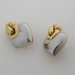 Estate Bulgari 18k Two Tone Gold Heart Earrings Jewelry