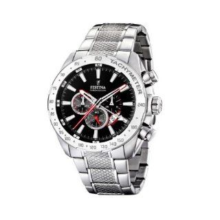 Festina Mens F16488/5 Silver Stainless Steel Quartz Watch with Black