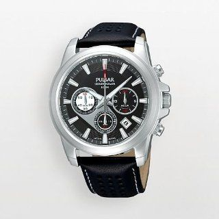 Pulsar Leather Black Dial Mens Watch #PT3075 Watches