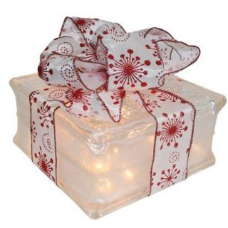 Christmas Holiday Decoration  Lighted Glass Block with Red Flake
