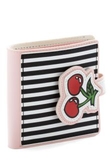 Bill of Wealth Wallet in Cherries   Red, Green, Black, Stripes, Fruits