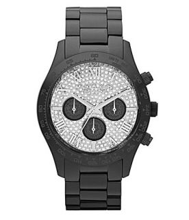 Michael Kors Ladies Layton Black Glitz Dial Watch  Dillards