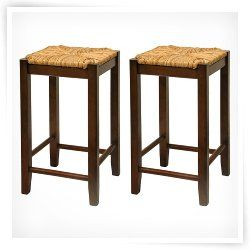 Winsome Wood 24 Inch Rush Seat Counter Stool   Walnut   Set of 2