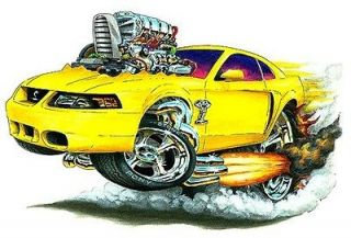 2003 04 Ford Mustang Cobra Muscle Car toon Art Tshirt NEW