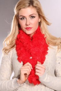 Red Soft Patchy Faux Fur Scarf @ Amiclubwear scarf Online Store