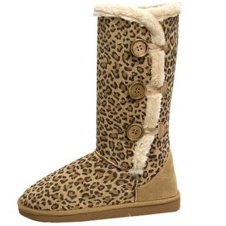 Womens Leopard Print Faux Fur Snow Winter Boots with Buttons
