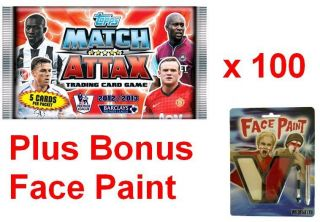 TOPPS MATCH ATTAX TRADING CARDS 2012 / 2013 x 100 PACKETS + BONUS FACE