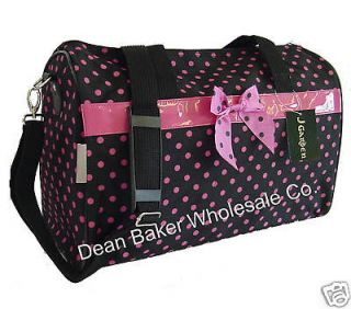 Polka Dot Duffle Black Pink Gym Tote Bag Carry on Luggage