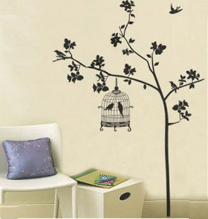 Black Birdcage Bird Tree Branch Removable Wall Sticker Home Decor