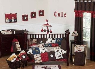 JOJO DESIGN HORSE WESTERN THEMED COWBOY BABY BOY CRIB BEDDING SET