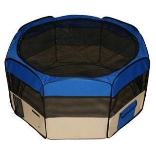 Portable 45 PET PUPPY DOG PLAYPEN EXERCISE PEN KENNEL Blue