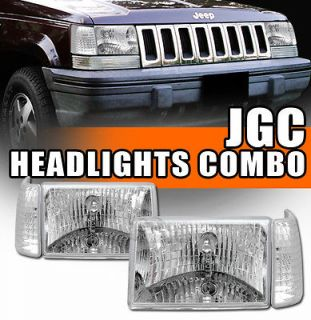 4pc 93 98 Jeep Grand Cherokee Euro Chrome Headlights+Sig​nal/Park