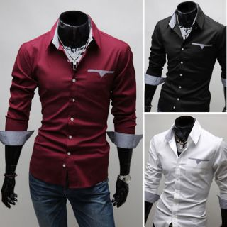 New Fashion Mens Luxury Casual Slim Fit Stylish Dress Shirts 3 Colors