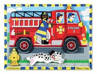 FIRE TRUCK CHUNKY PUZZLE~#3721 Melissa & and Doug~Tracing,S​tand up