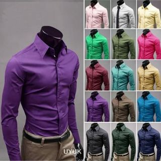 mens button front candy color slim casual shirts leisure business