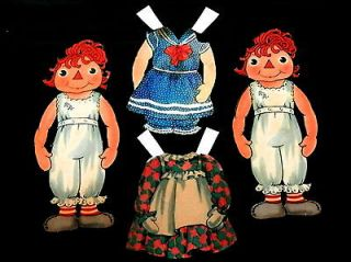 Two Vintage RAGGEDY ANN Paper Dolls with Two Dresses   Older Style