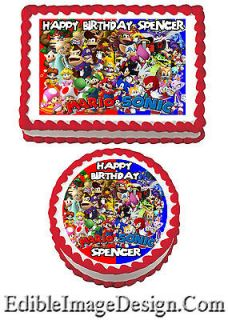 MARIO & SONIC Edible Party Birthday Cake Image Cupcake Topper Favor