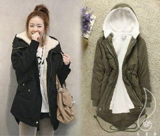 Women Thick Fleece Warm Winter Coat Zip Hooded Parka Overcoat Long