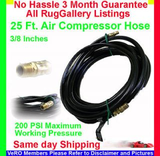 Air Compressor Inflator Pressure Hose 25 Ft 200 PSI 3/8 In Male