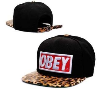 Obey Original Logo Custom Leopard Print Brim Black Snapback Hat New