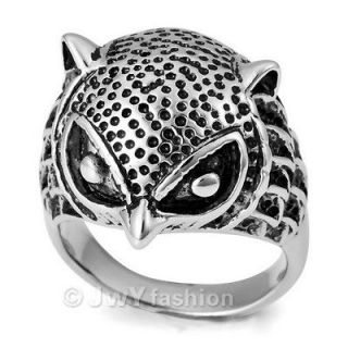 unique mens owl stainless steel ring ve207 size 8 12