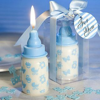 blue baby bottle candle baby shower favors christening party favors