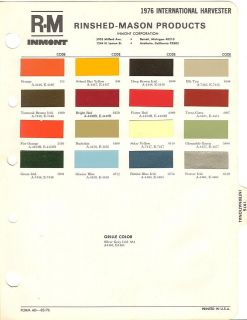 1976 international harvester paint chips sheet r m time left