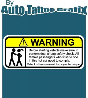 WARNING Decal Sticker Car Truck Bike Vehicle Safety Check Drift JDM