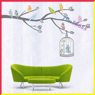 Bird Tree Cage Removable Wall Vinyl Sticker Decals Wallpaper