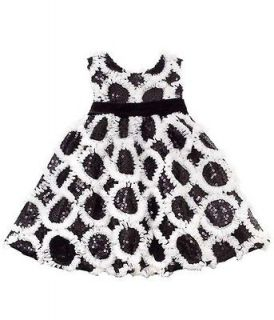 New Girls Rare Editions 4T Black White Sequins Dress Christmas Holiday