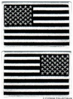AMERICAN FLAG MOTORCYCLE BIKER PATCH LOT OF 2 new ALL BLACK military