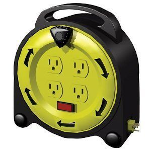 Outlet 20 Foot Outdoor Power Cord Extension Reel Organizer Storage NEW